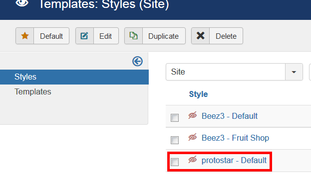 Selecting the default style within Joomla to customize.